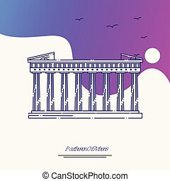 Travel PARTHENON OF ATHENS Poster Template. Purple creative background