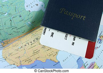 Travel Passport - Passport, with flight boarding pass on map