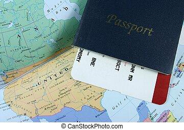 Travel Passport - Passport, with flight boarding pass on map