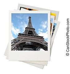 Travel photo collage isolated on white background
