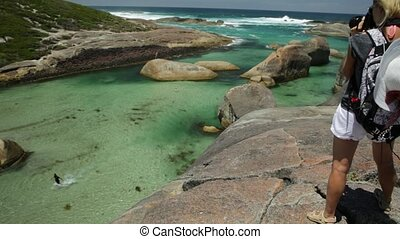 Travel photographer takes shot of Elephant Rocks in William Bay National Park, Western Australia. Professional photography with amazing South Coast Denmark. Great Southern Ocean coastline.