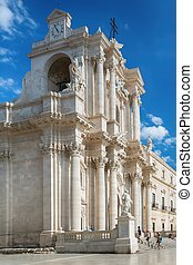 Travel Photography from Syracuse, Italy on the island of Sicily. Cathedral Plaza.