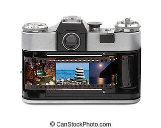 Travel photos in retro camera