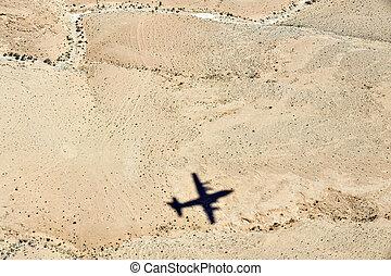 Travel Photos Israel - Negev Desert - Airplane shadow above...