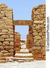 Gates of ancient Nabataean town of Shivta , Israel.