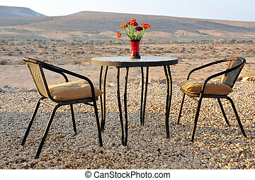 Travel Photos Israel - Negev Desert - Table and chairs in a...