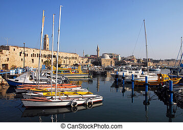 The historic port of Acre in Akko ,Israel.