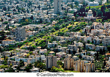 Travel Photos of Israel - Bahai Shrines in Haifa - Aerial...