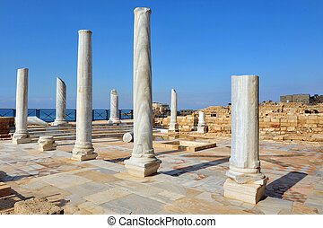 Travel Photos of Israel - Caesarea - Marble pillars at...