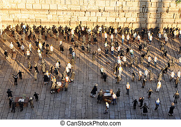 Miniature replica of the Kotel Wailing Western Wall empty at night in Mini Israel Latrun, Israel.