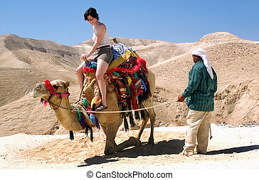 Travel Photos of Israel - Judaean Desert - Tourist rides a...