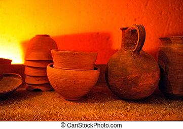 Travel Photos of Israel - Qumran Caves - Ancient pottery at...