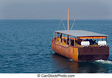 Travel Photos of Israel - Sea of Galilee - An old boat sails...