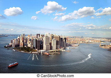 Travel Photos of New York - Manhattan - Aerial view of...