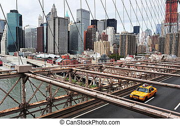 Travel Photos of New York - Manhattan - Taxi cab drive over...