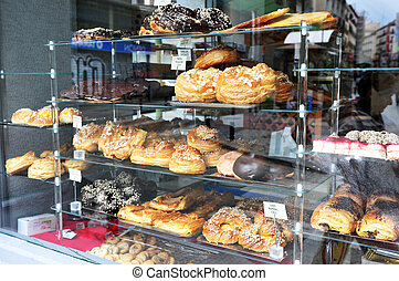 Travel Photos of Spain - Madrid Cityscape - A bakery shop in...