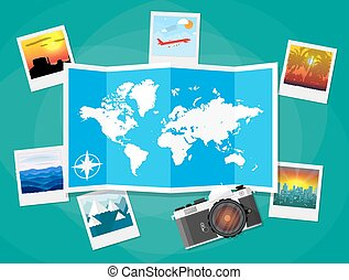 Travel photos with camera and map