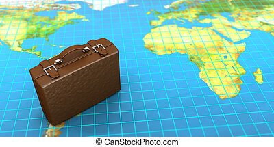 travel - 3d illustration of luggage and map, world traveling...