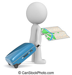 Travel. - The dude 3D character holding modern suitcase and...