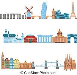 Travel places vector set.