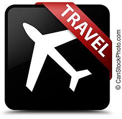 Travel (plane icon) black square button red ribbon in corner