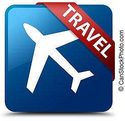 Travel (plane icon) blue square button red ribbon in corner