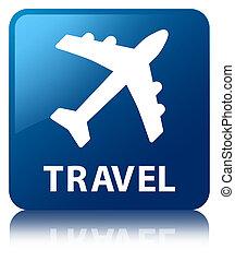 Travel (plane icon) blue square button