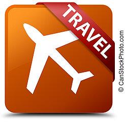 Travel (plane icon) brown square button red ribbon in corner