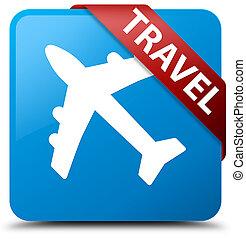 Travel (plane icon) cyan blue square button red ribbon in corner