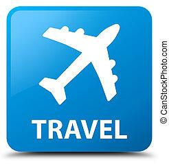 Travel (plane icon) cyan blue square button