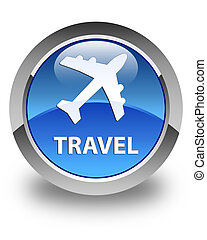 Travel (plane icon) glossy blue round button