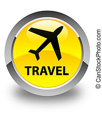 Travel (plane icon) glossy yellow round button
