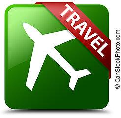 Travel (plane icon) green square button red ribbon in corner