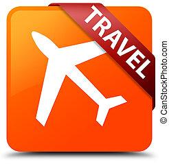 Travel (plane icon) orange square button red ribbon in corner