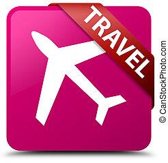 Travel (plane icon) pink square button red ribbon in corner