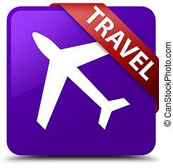 Travel (plane icon) purple square button red ribbon in corner
