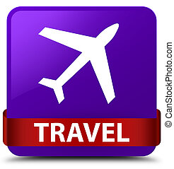 Travel (plane icon) purple square button red ribbon in middle