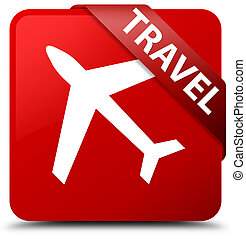 Travel (plane icon) red square button red ribbon in corner