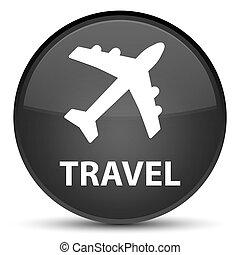 Travel (plane icon) special black round button