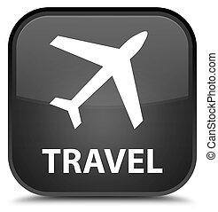 Travel (plane icon) special black square button