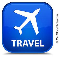 Travel (plane icon) special blue square button
