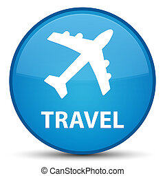 Travel (plane icon) special cyan blue round button