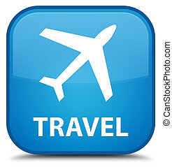 Travel (plane icon) special cyan blue square button
