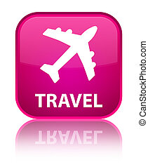 Travel (plane icon) special pink square button