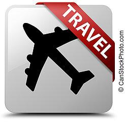 Travel (plane icon) white square button red ribbon in corner