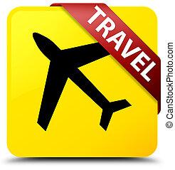 Travel (plane icon) yellow square button red ribbon in corner