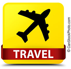 Travel (plane icon) yellow square button red ribbon in middle