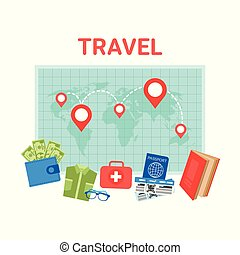 Travel checklist on map top view of colorful travel eps vector travel planning background pointers on world map baggage items icons gumiabroncs Image collections