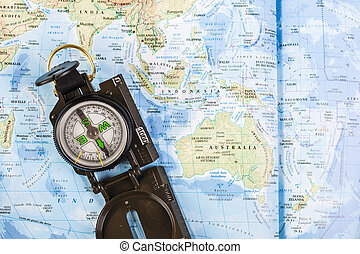 Close up of compass on map