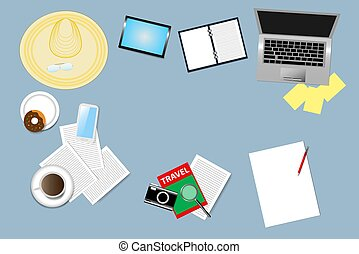 Travel planning concept - Top view of the office table with...
